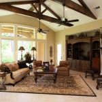Family Room With Wood Trusses