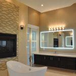 Master Bath Floating Vanity, Fireplace, Freestanding Slipper Tub