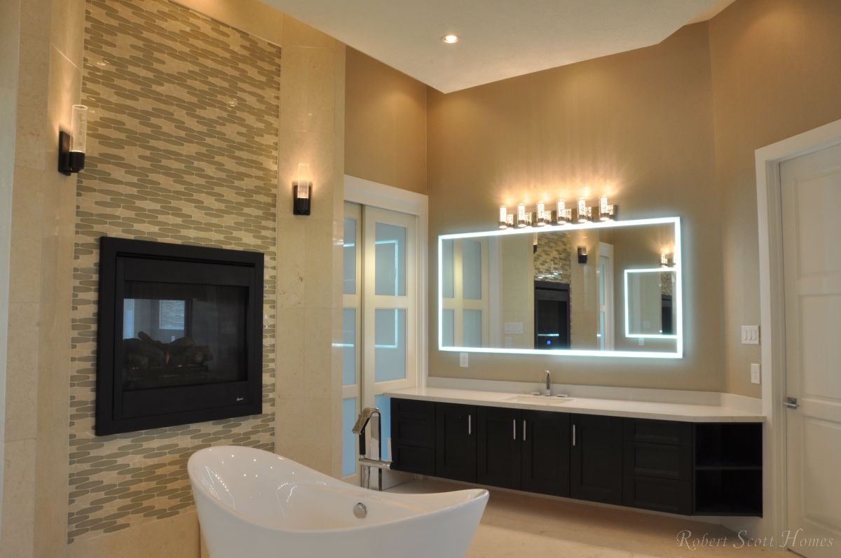 Master Bath Floating Vanity, Fireplace, Freestanding Slipper Tub