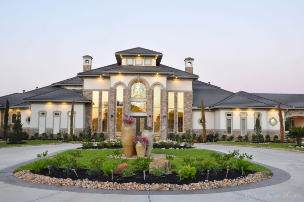 Stucco and stone exterior for roof light stucco and stone Mediterranean style homes houston