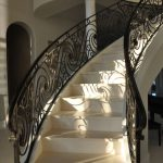 Natural Stone Stairs And Ornamental Iron Railings