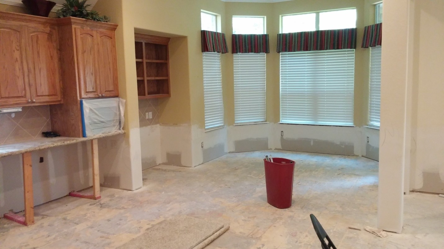 Flood Repair Sheetrock Counters Cabinets